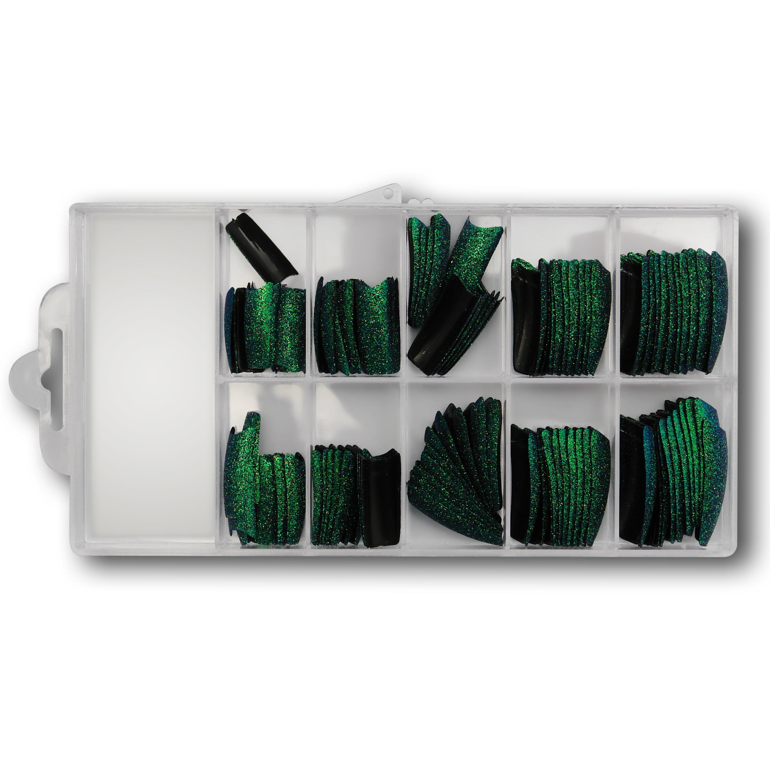 Image of   100 design sortgrøn Glitter, Kort fals