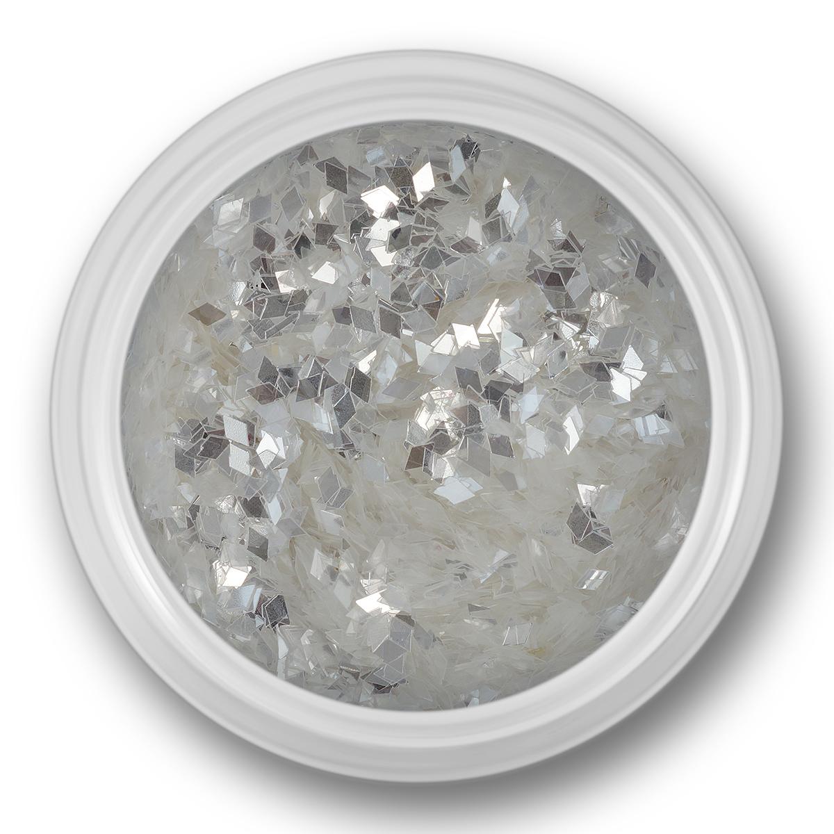 Image of   Glitter Dust, rhombe, hvid sølv