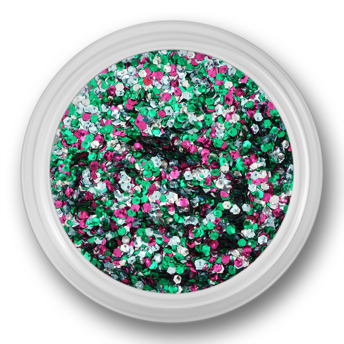 Image of   Glitter Dust, hexagon, sølv, grøn, pink