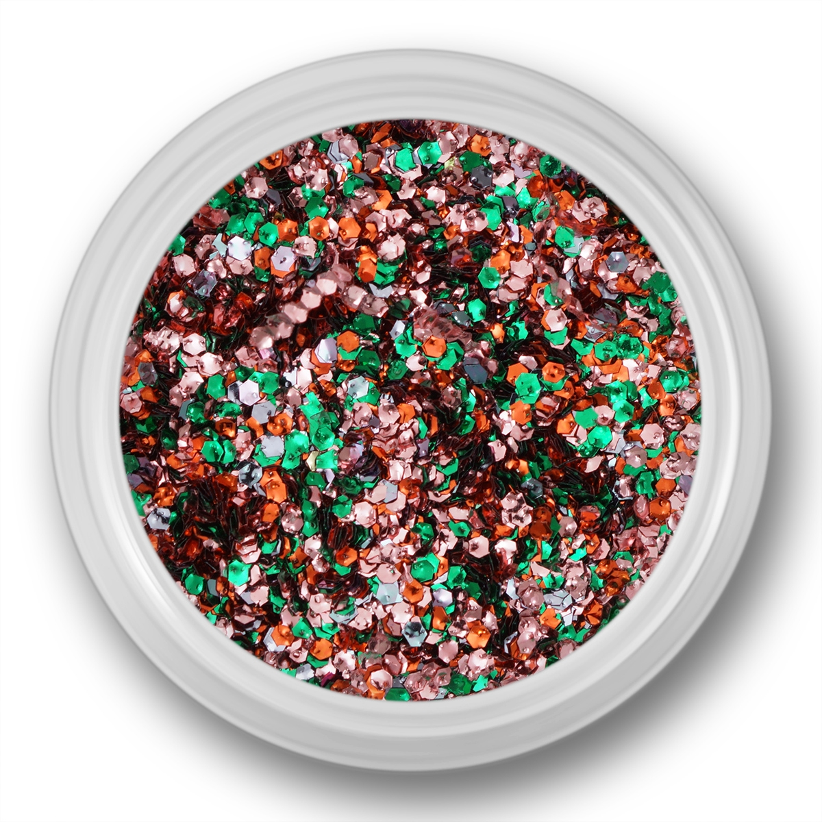 Image of   Glitter Dust, hexagon, rosa, grøn, orange