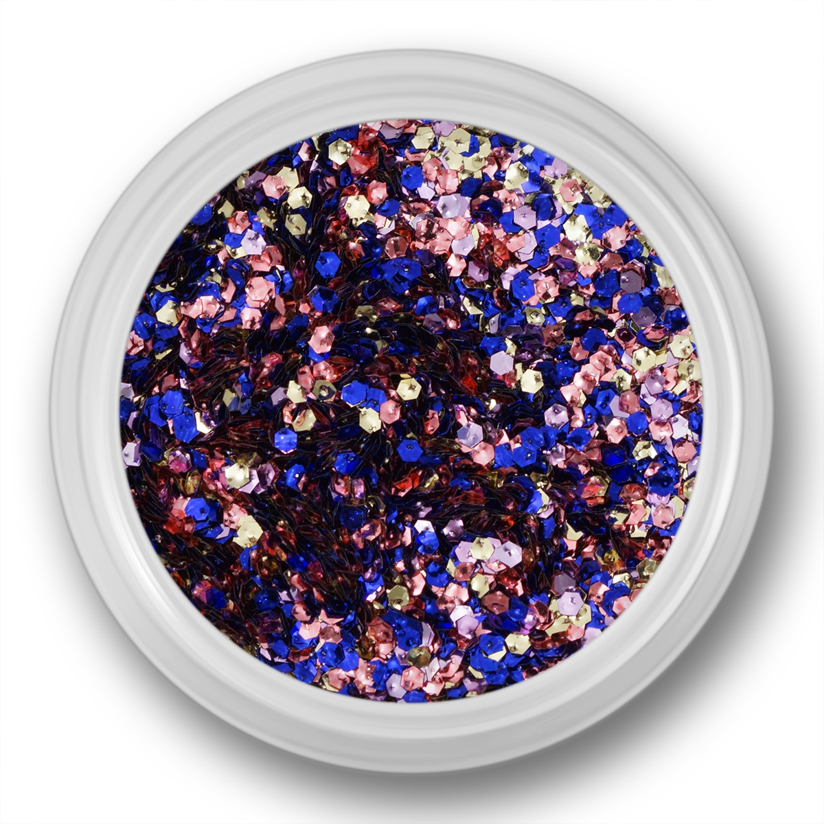Image of   Glitter Dust, hexagon, blå, lilla, rosa, sølv