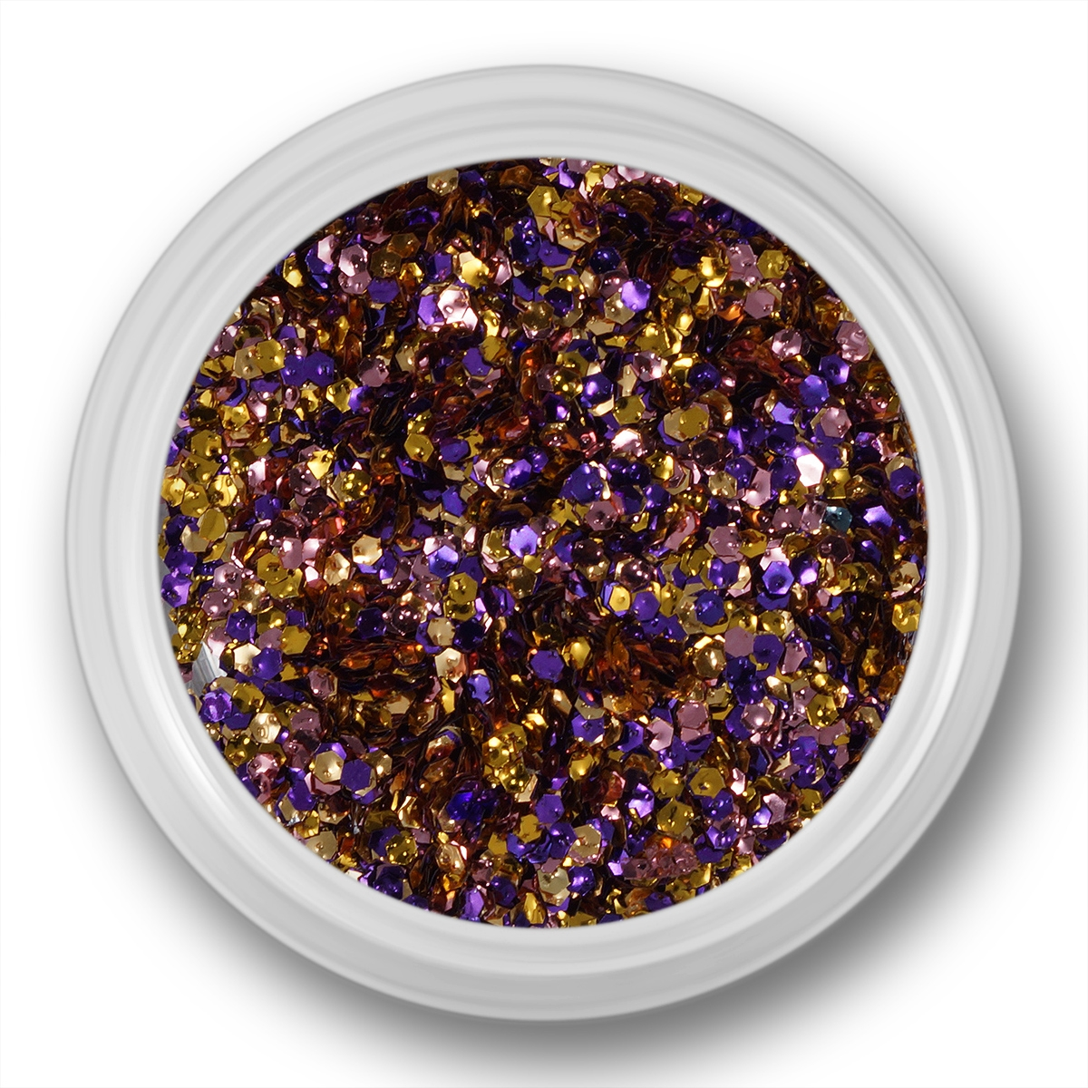 Image of   Glitter Dust, hexagon, lilla, guld, pink