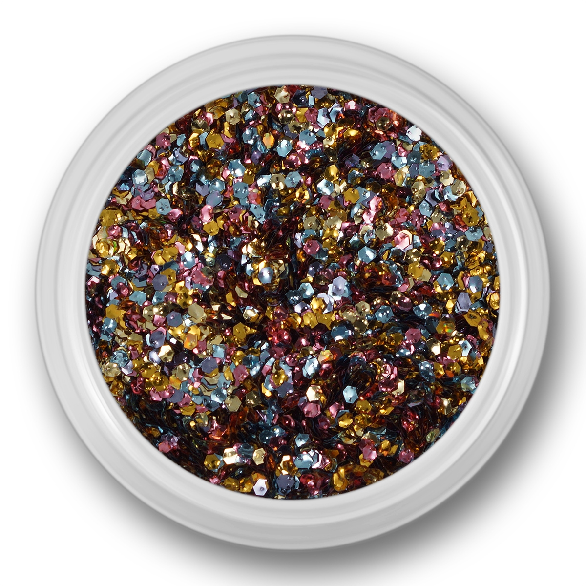 Image of   Glitter Dust, hexagon, sølv, guld, pink