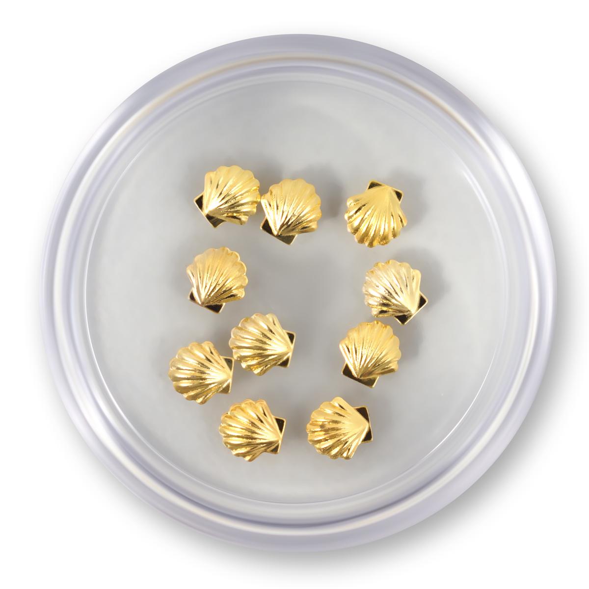 Image of   Muslingeskaller i guld, store 10 stk.