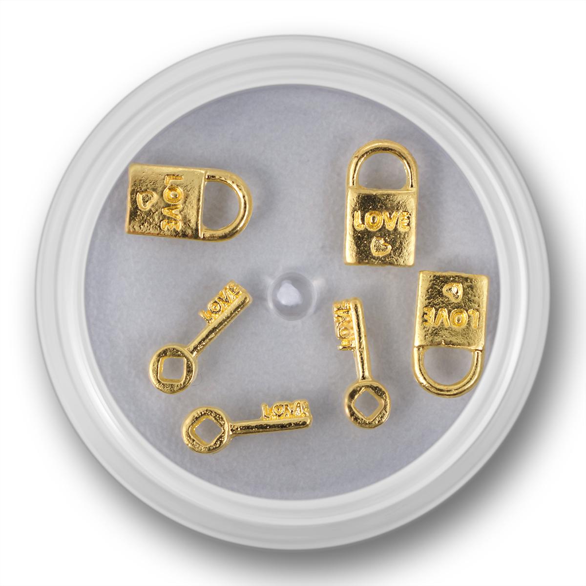Image of   Negle smykke, lås og nøgle ,guld, 3 stk