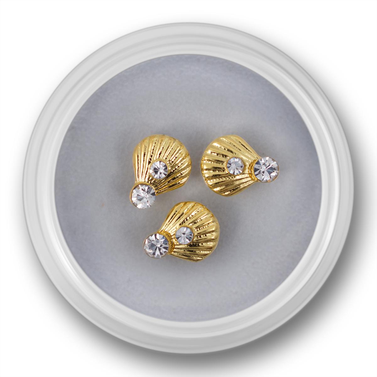 Image of   Negle smykke, musling med krystaller ,guld, 3 stk