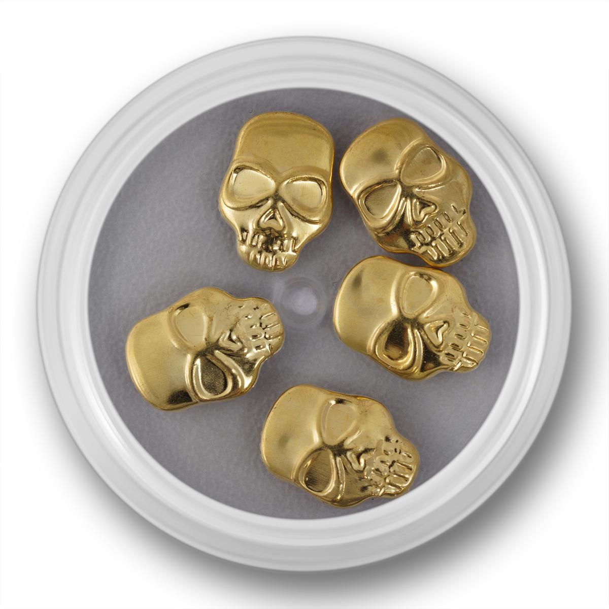 Image of   skull, guld, 5 stk