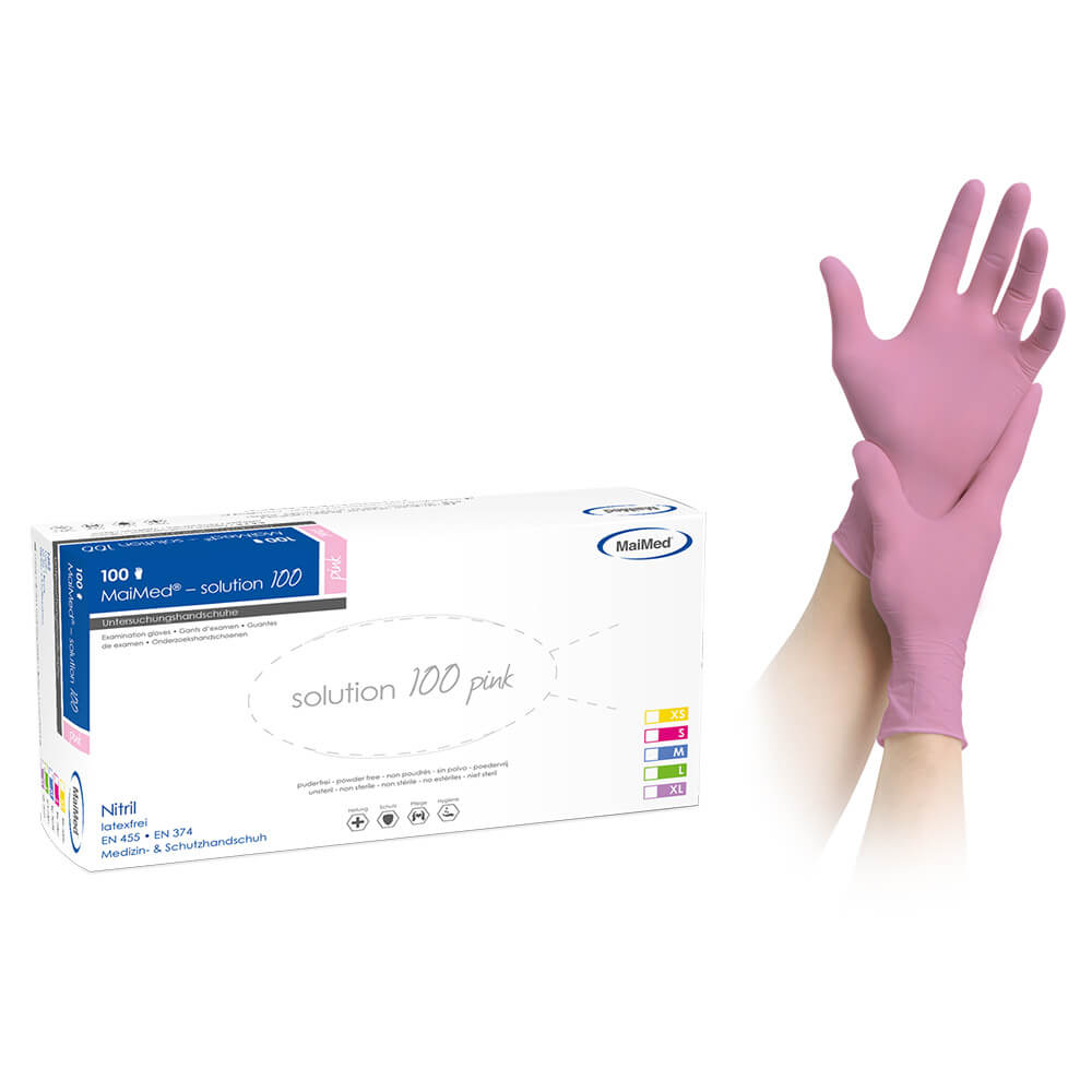 Image of   MAIMED solution Nitrilhandske, Pink, str. L, pudderfri