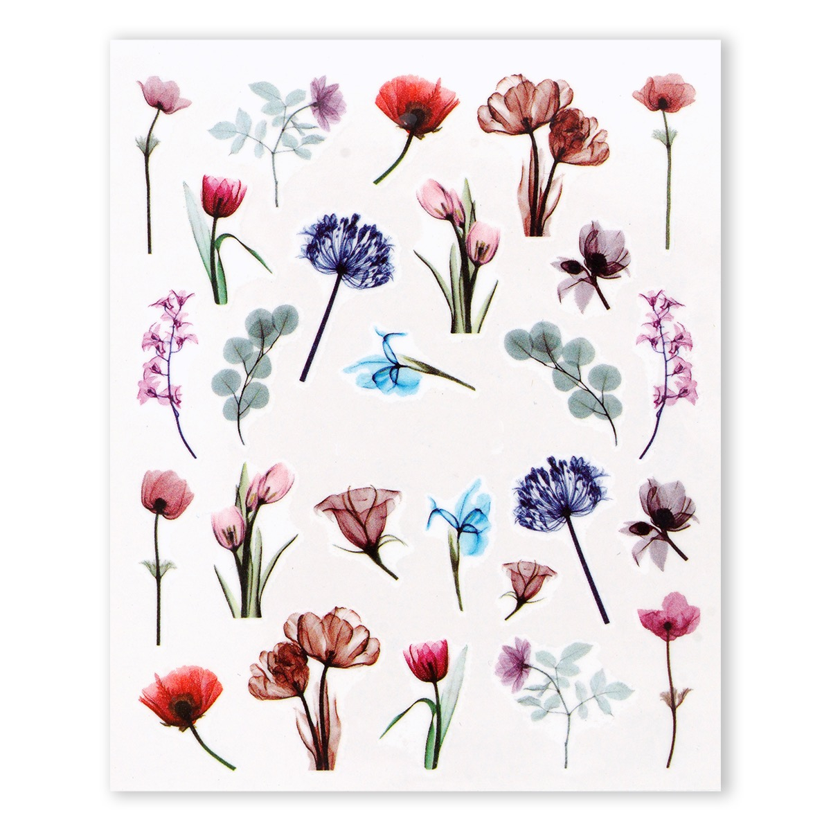 Image of   Water Decal, akvarel blandede blomster