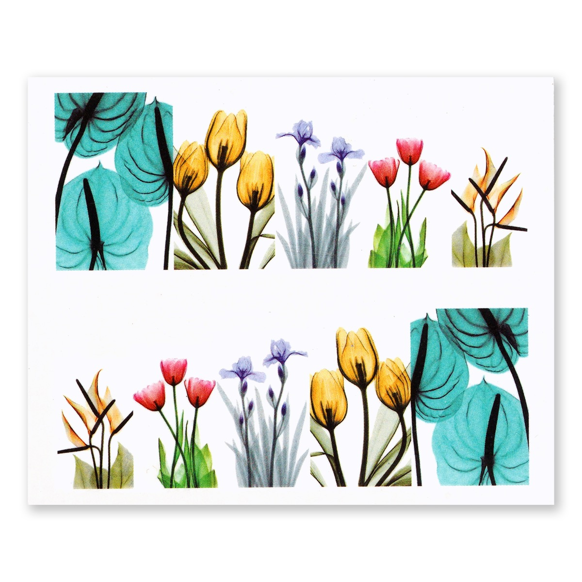 Image of   Water Decal, blandede akvarel blomster