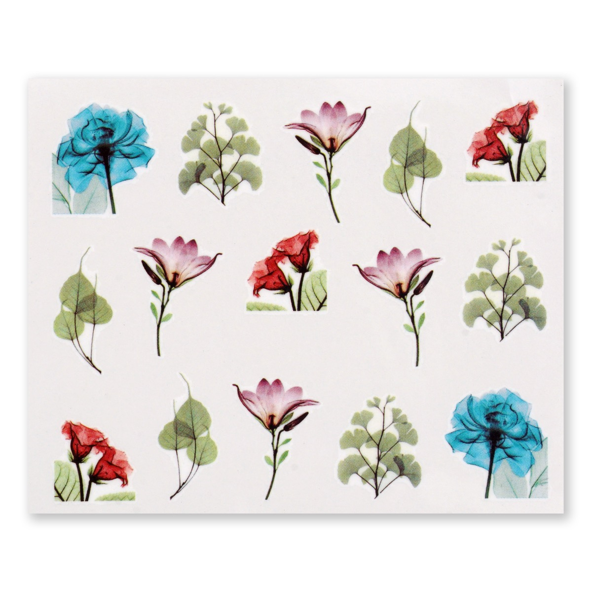 Image of   Water Decal, akvarel finurlige blomster