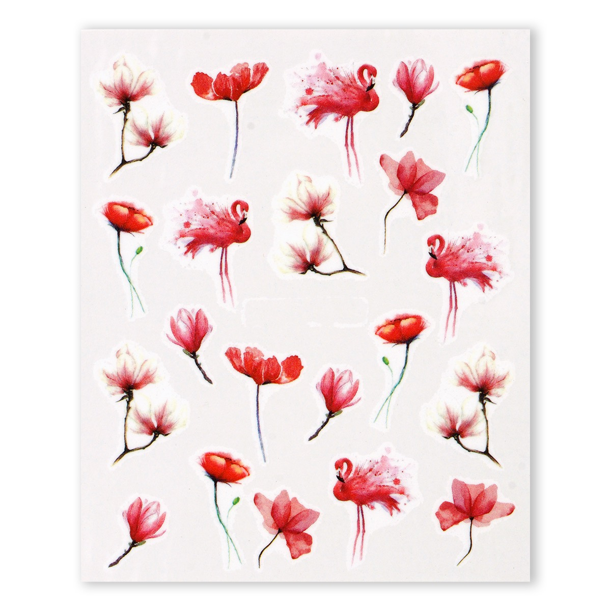 Image of   Water Decal, akvarel flamingo blomster