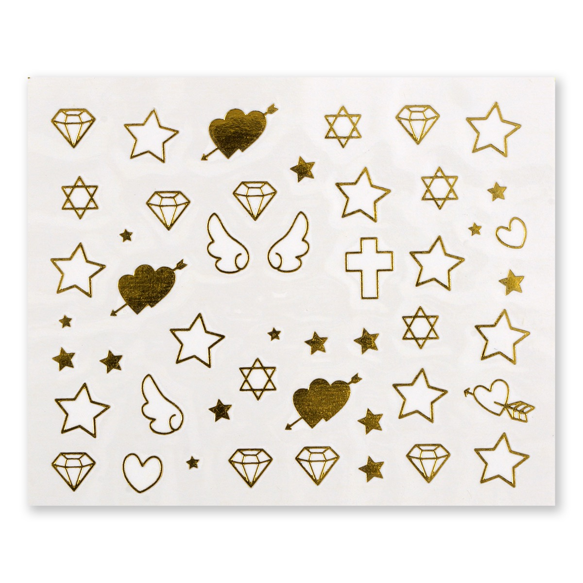 Image of   Water Decal, Diamanter, hjerter og vinger i guld