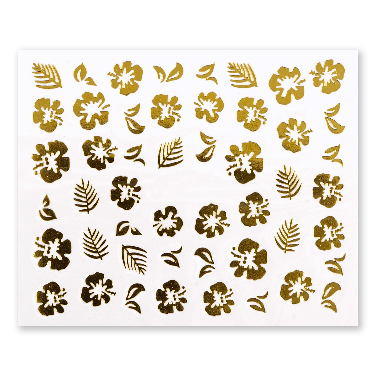 Image of   Water Decal, blomster og blade i guld