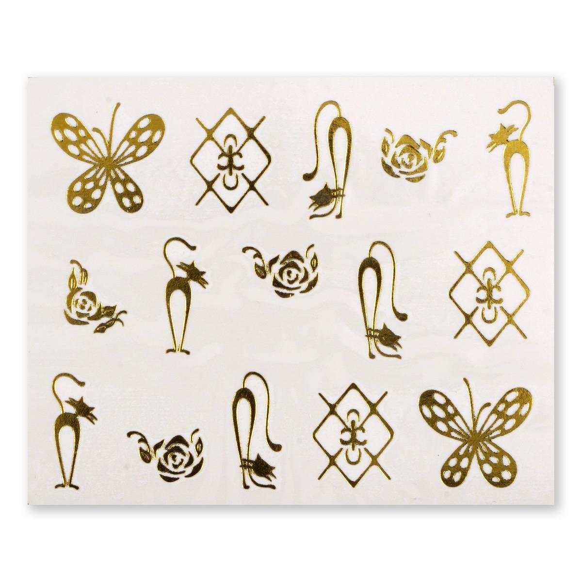 Image of   Water Decal, katte og sommerfugle i guld