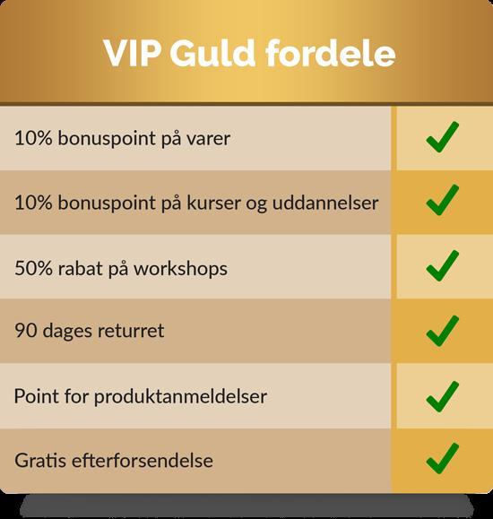 VIP Guld. 10% bonuspoint på alle varer